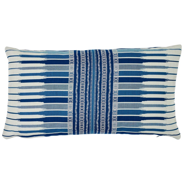 Schumacher Atchison Blue Two-Sided Cotton Lumbar Pillow For Sale