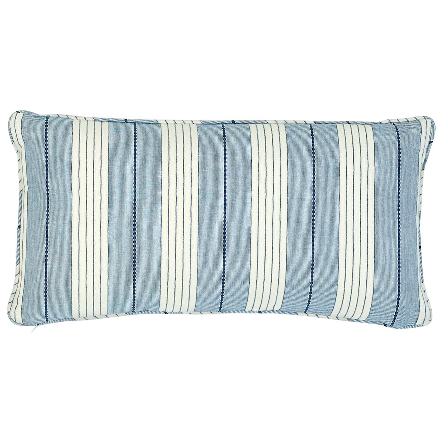 Schumacher Audrey Stripe Navy Two-Sided Cotton Pillow
