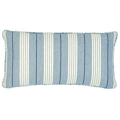 Schumacher Audrey Stripe Navy Two-Sided Cotton Pillow