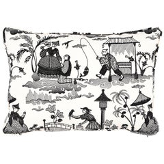 Schumacher Bassano Embroidered Toile Pillow in Black