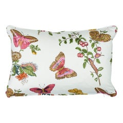 Schumacher Baudin Butterfly Chintz Blush Two-Sided Cotton Pillow