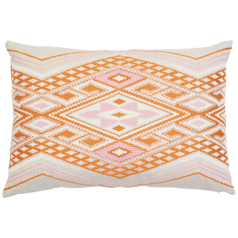 Schumacher Bayeta Embroidery Pink Orange Two-Sided Linen Lumbar Pillow