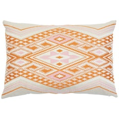 Schumacher Bayeta Embroidery Pink Orange Two-Sided Linen Lumbar Pillow