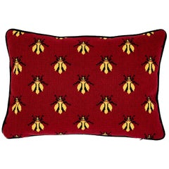 Schumacher Bee Epingle Red Black Cotton Velvet Pillow