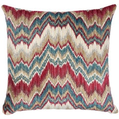 "Schumacher Bezique Flamestitch 22"" Pillow in Red & Peacock"