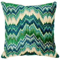 Schumacher Bezique Flamestitch Blue Green Velvet Linen Pillow