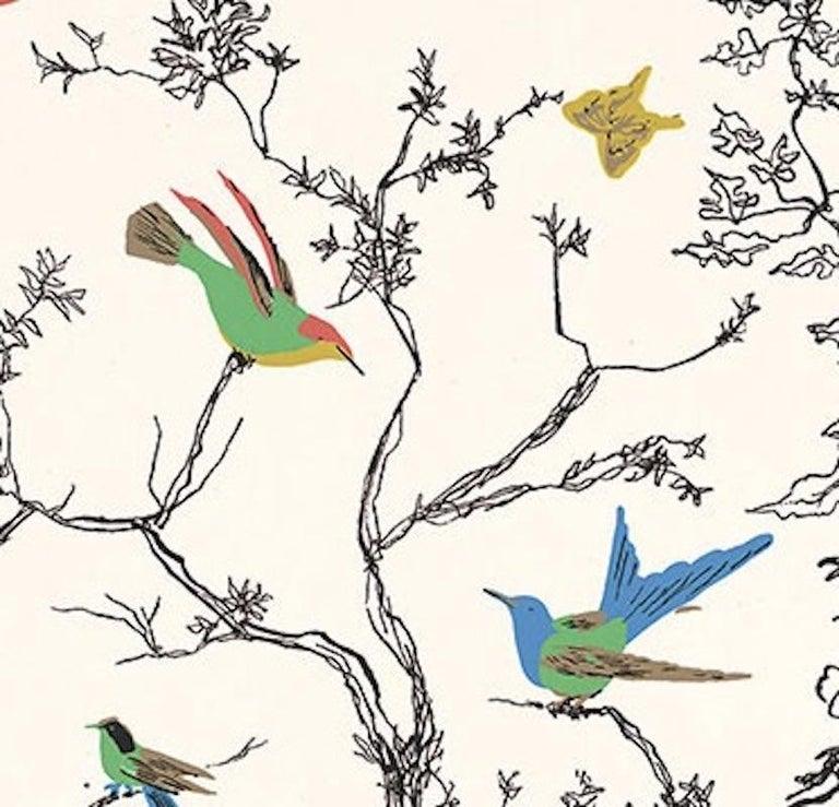 Schumacher Birds Butterflies Hand Printed Multi White Wallpaper
