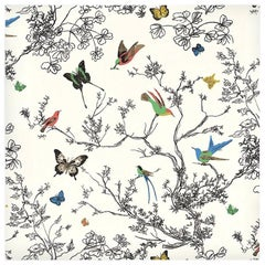 Schumacher Birds & Butterflies Hand-Printed Multi White Wallpaper