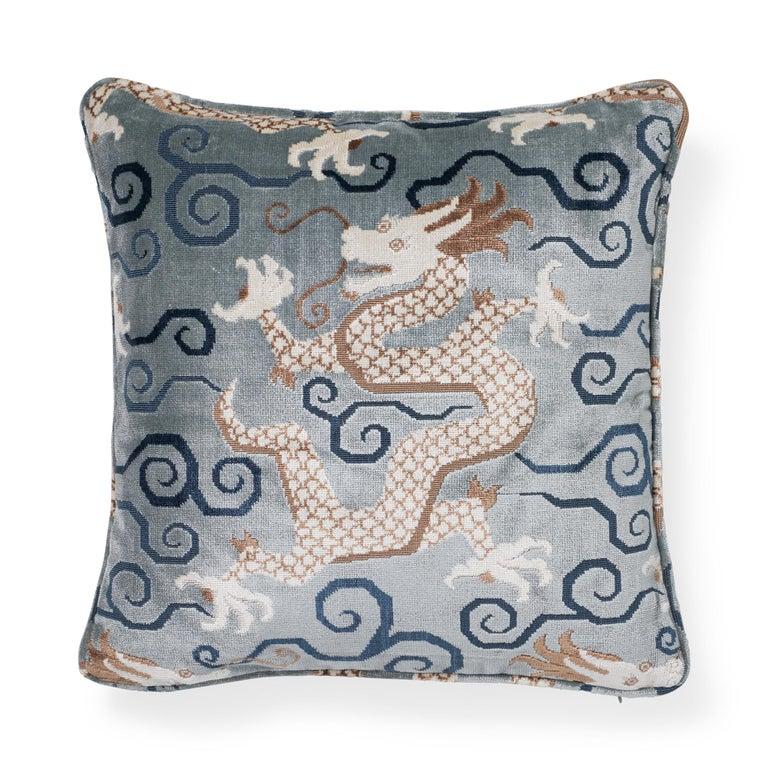 Belgian Schumacher Bixi Velvet Celestine Two-Sided Pillow For Sale