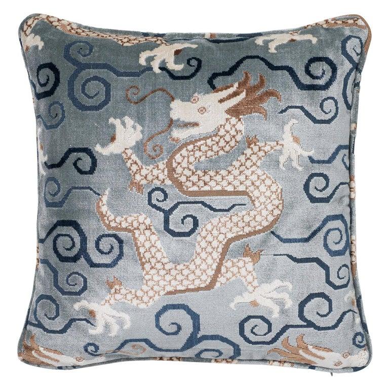 Schumacher Bixi Velvet Celestine Two-Sided Pillow For Sale