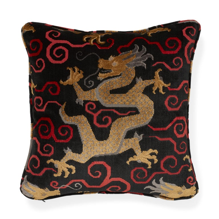Belgian Schumacher Bixi Velvet Onyx Two-Sided Pillow For Sale