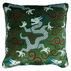 Schumacher Bixi Velvet Pillow in Emerald