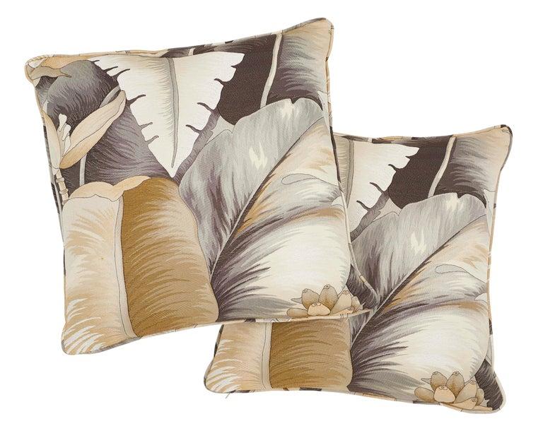 Italian Schumacher Botanico Bronze Two-Sided Pillow For Sale