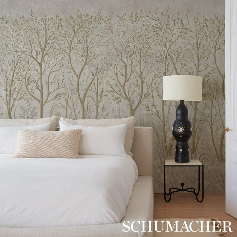 Schumacher by Colette Cosentino Brindille Wallpaper Mural in Peacock In New Condition For Sale In New York, NY