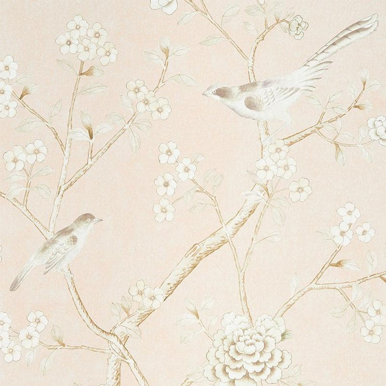 Inspired by an antique Chinese silk panel, this Mary McDonald design features exotic birds and cherry blossoms on a stippled texture background.  Panel Width: 49