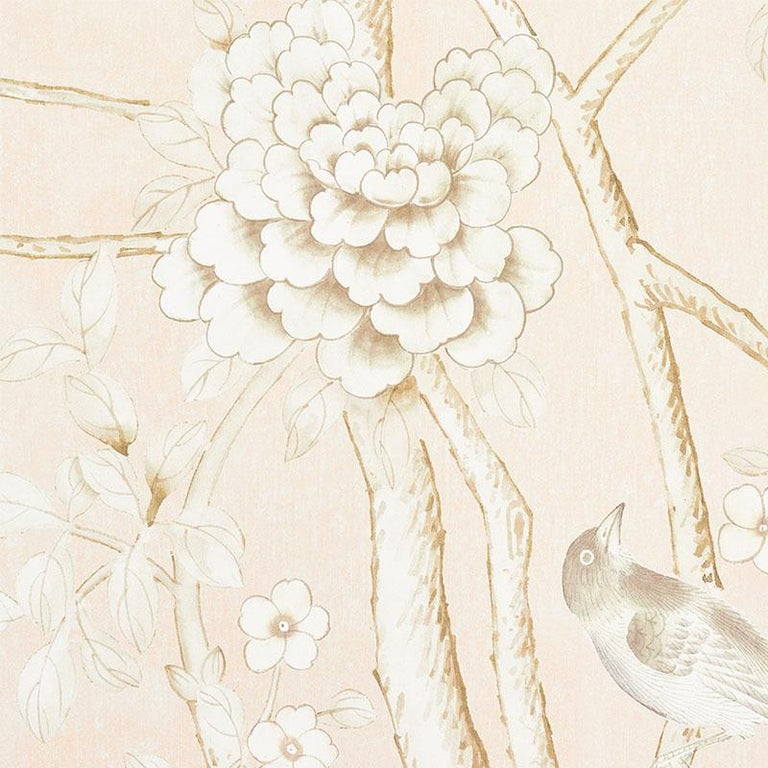 Chinoiserie Schumacher by Mary McDonald Chinois Palais Vinyl Wallpaper Panel in Blush For Sale