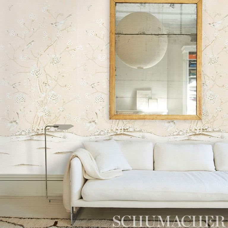British Schumacher by Mary McDonald Chinois Palais Vinyl Wallpaper Panel in Blush For Sale