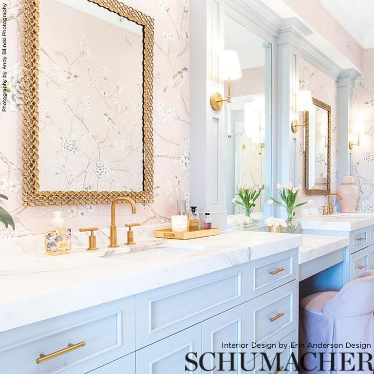 Schumacher by Mary McDonald Chinois Palais Vinyl Wallpaper Panel in Blush In New Condition For Sale In New York, NY