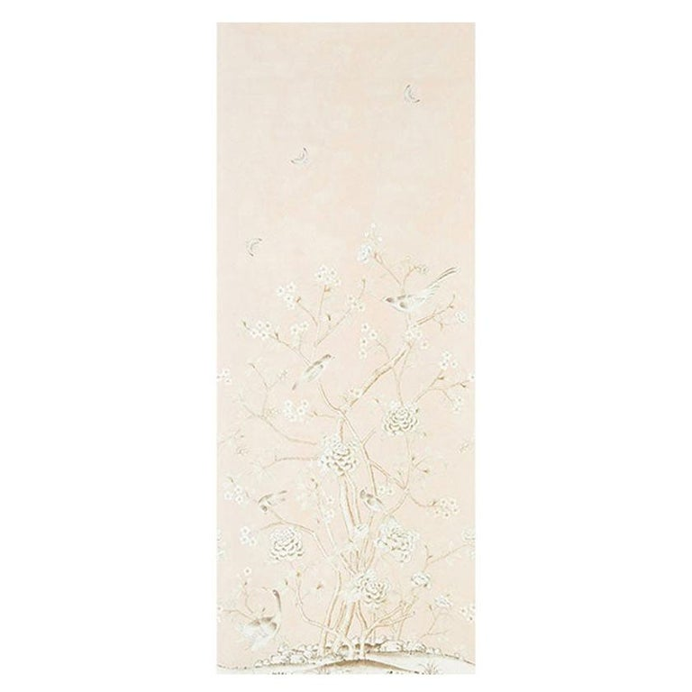 Schumacher by Mary McDonald Chinois Palais Vinyl Wallpaper Panel in Blush For Sale