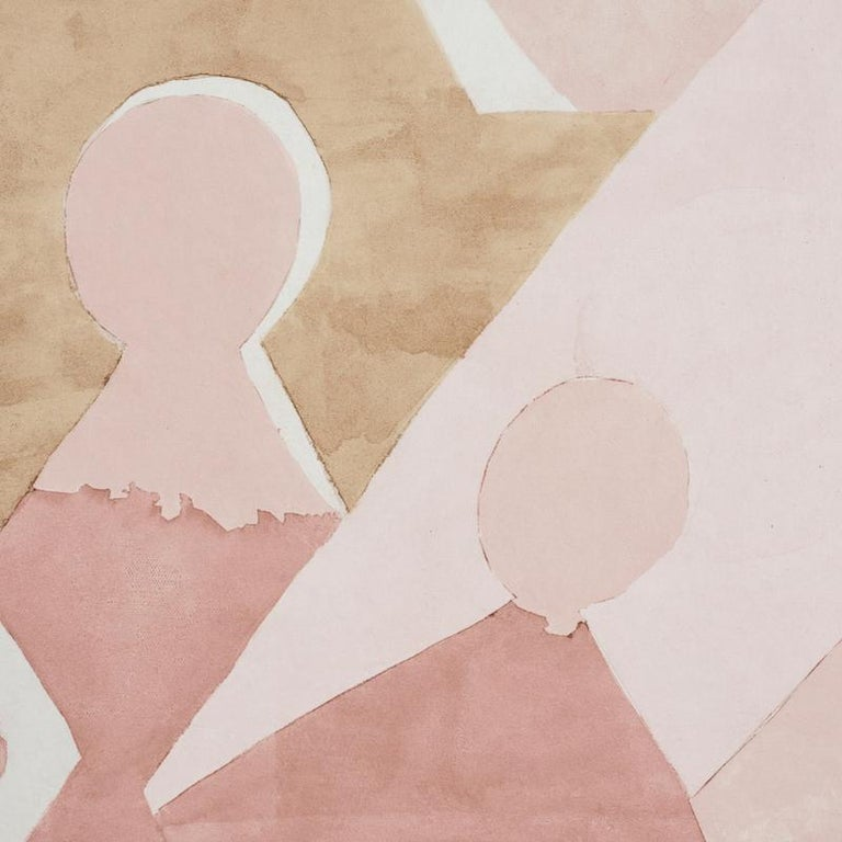 Mid-Century Modern Schumacher by Peg Norriss Steps Wallpaper Mural in Rose & Camel  For Sale