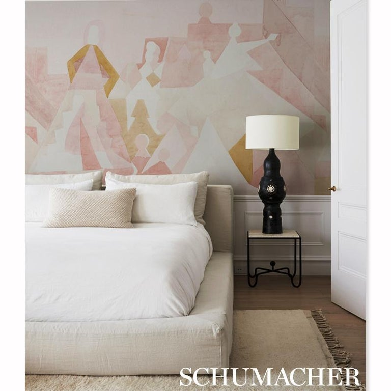 Schumacher by Peg Norriss Steps Wallpaper Mural in Rose & Camel  In New Condition For Sale In New York, NY