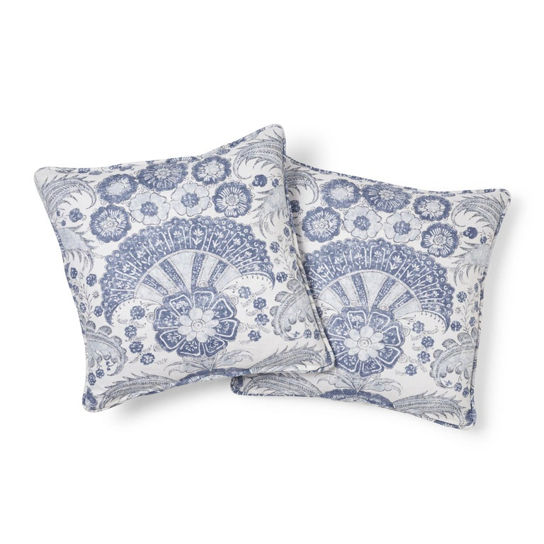 Modern Schumacher Calicut Floral Delft Two-Sided Linen Pillow For Sale