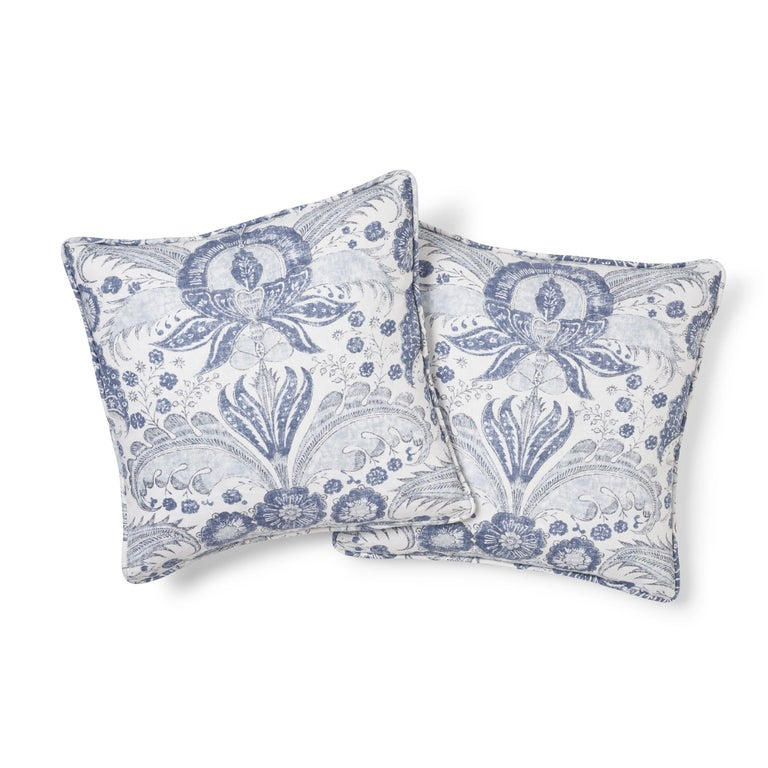 British Schumacher Calicut Floral Delft Two-Sided Linen Pillow For Sale