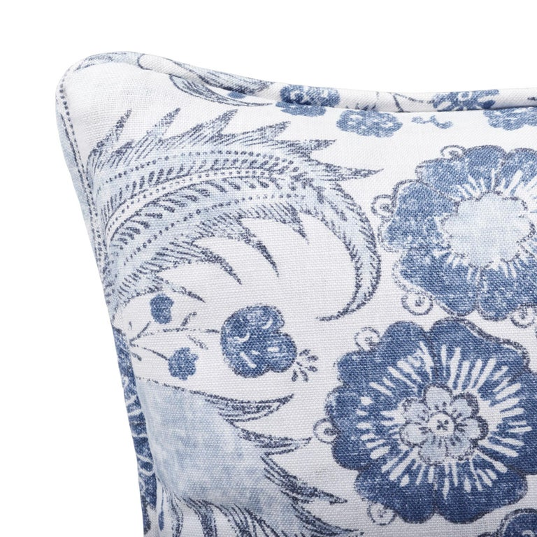 Schumacher Calicut Floral Delft Two-Sided Linen Pillow In New Condition For Sale In New York, NY