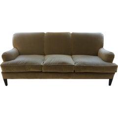 Schumacher Cambridge Sofa Upholstered in Antique Strie Velvet