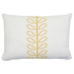 Schumacher Camile Embroidery Yellow Linen Cotton Two-Sided Lumbar Pillow