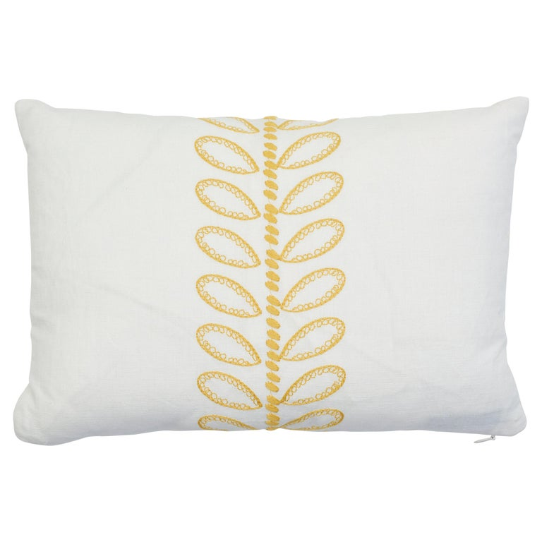 Schumacher Camile Embroidery Yellow Linen Cotton Two-Sided Lumbar Pillow For Sale