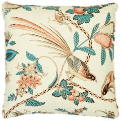 Schumacher Campagne Peacock Rouge Two-Sided Linen Pillow