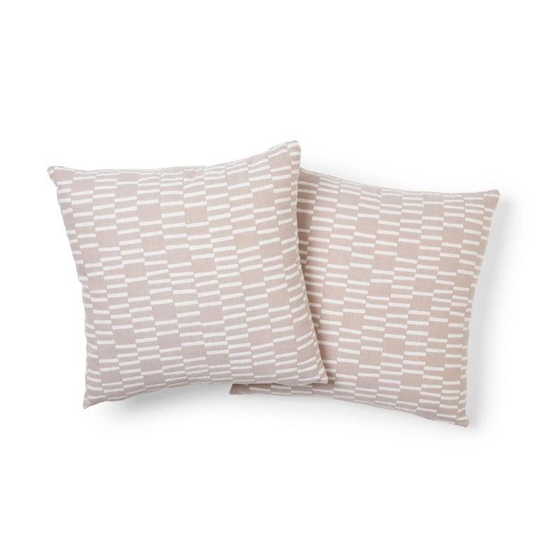 Modern Schumacher Caroline Hurley Cedar Tree Neck Clay Two-Sided Cotton Linen Pillow For Sale