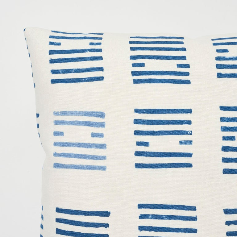 Schumacher Caroline Hurley Tiasquam Blue Two-Sided Linen Pillow In New Condition For Sale In New York, NY