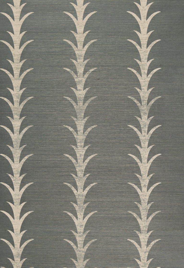 This pattern is a stylized stripe based on a classic acanthus motif. Elegant and airy, the design is printed on a sisal ground, giving it subtlety and dimension.  Since Schumacher was founded in 1889, our family-owned company has been synonymous