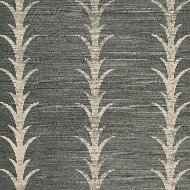 Bohemian Schumacher Celerie Kemble Acanthus Stripe Sisal Wallpaper in Shadow For Sale