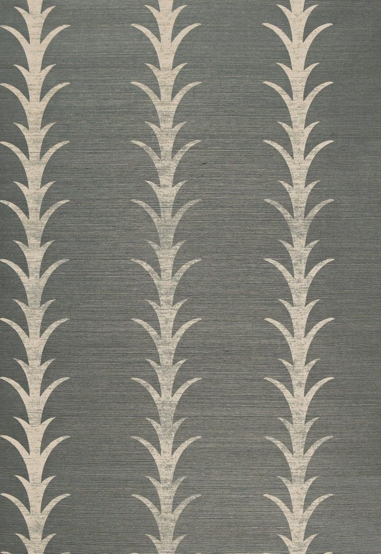 American Schumacher Celerie Kemble Acanthus Stripe Sisal Wallpaper in Shadow For Sale