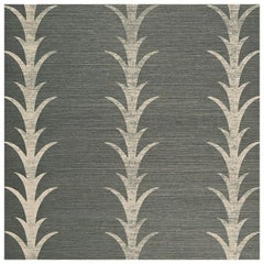 Schumacher Celerie Kemble Acanthus Stripe Sisal Wallpaper in Shadow