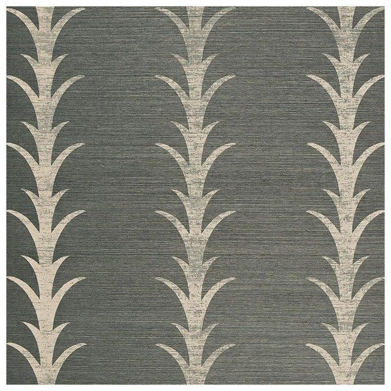 Schumacher Celerie Kemble Acanthus Stripe Sisal Wallpaper in Shadow For Sale