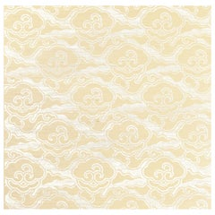 Schumacher Celerie Kemble Cirrus Clouds Sisal Wallpaper in Blanched