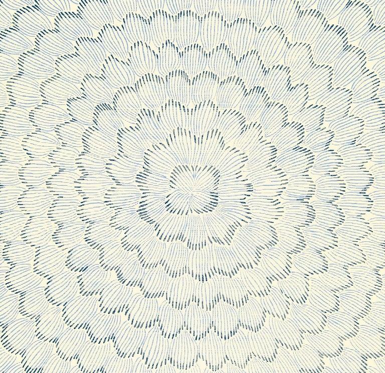 Schumacher Celerie Kemble Feather Bloom Floral Sisal Wallpaper In