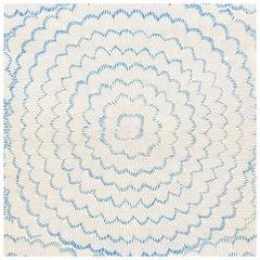 Schumacher Mori Sisal Textured Floral Porcelain Blue Wallpaper Two