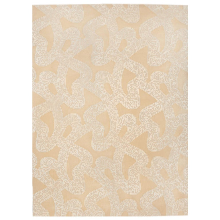 Schumacher Chantilly Lace Area Rug in Wool and Spun Silk, Patterson Flynn Martin For Sale