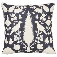 Schumacher Chenonceau Charcoal Two-Sided Linen Pillow