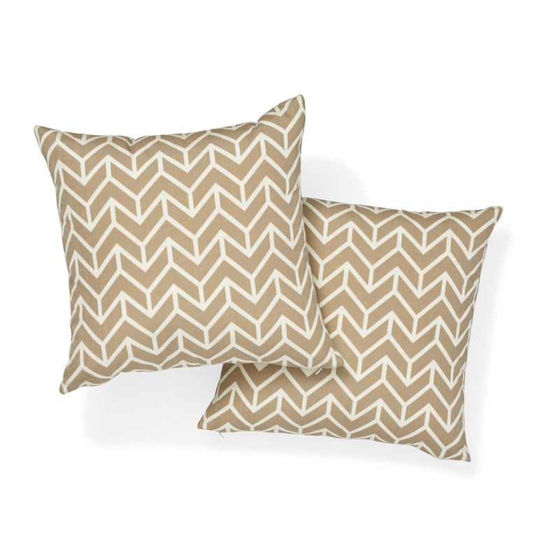 Modern Schumacher Chevron Sand Indoor/Outdoor Two-Sided Pillow For Sale