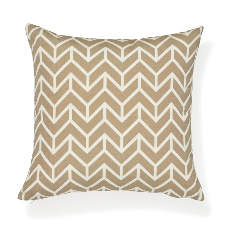 American Schumacher Chevron Sand Indoor/Outdoor Two-Sided Pillow For Sale