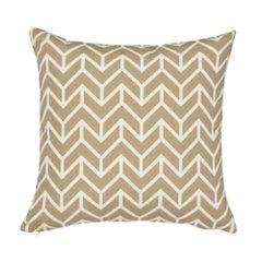 Schumacher Chevron Sand Indoor/Outdoor Two-Sided Pillow