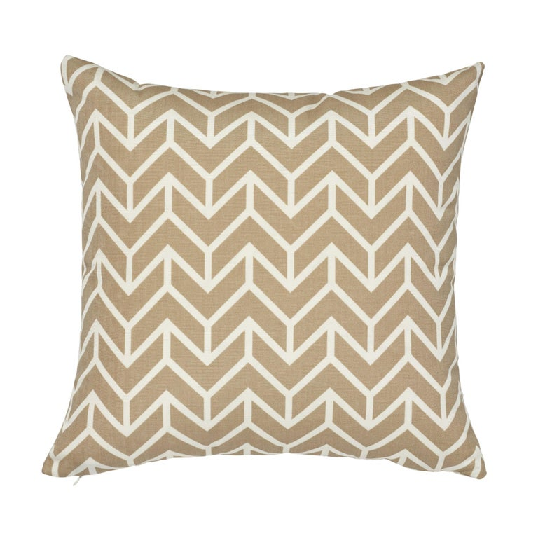 Schumacher Chevron Sand Indoor/Outdoor Two-Sided Pillow For Sale