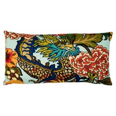 Schumacher Chiang Mai Dragon Aquamarine Two-Sided Linen Lumbar Pillow