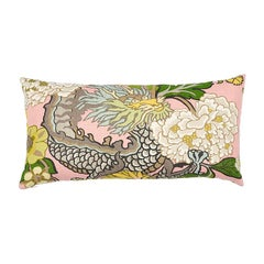 Schumacher Chiang Mai Dragon Blush Two-Sided Linen Lumbar Pillow